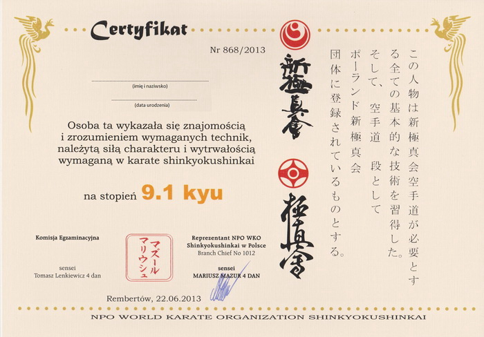 Wzór certyfikatu